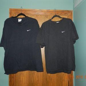 Two Men's Nike Black T Shirts